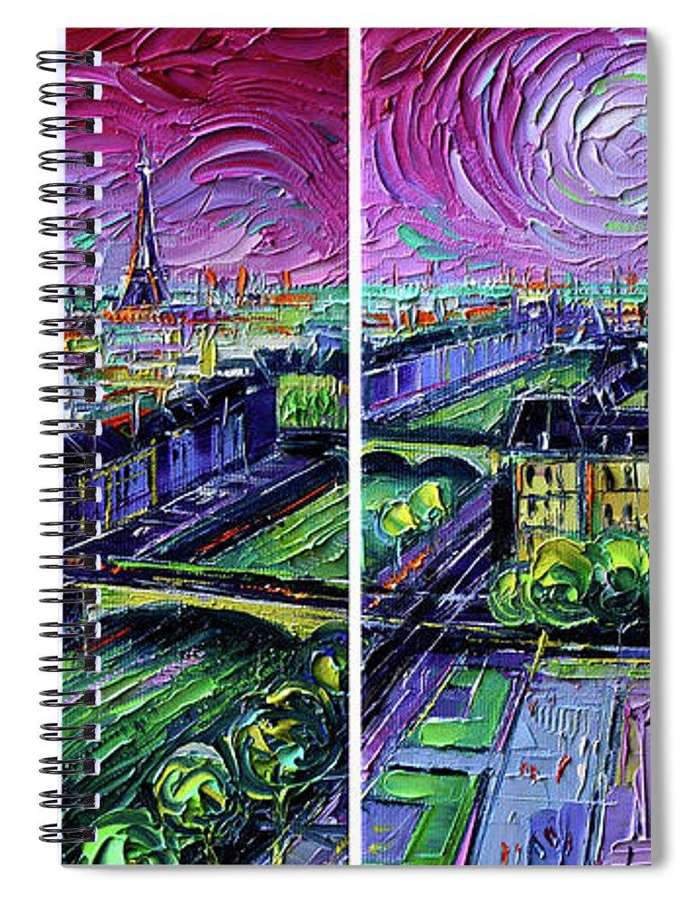 Paris Gargoyle Spiral Notebook featuring the painting Paris View With Gargoyles - Textural Impressionist Diptych Oil Painting Mona Edulesco  by Mona Edulesco