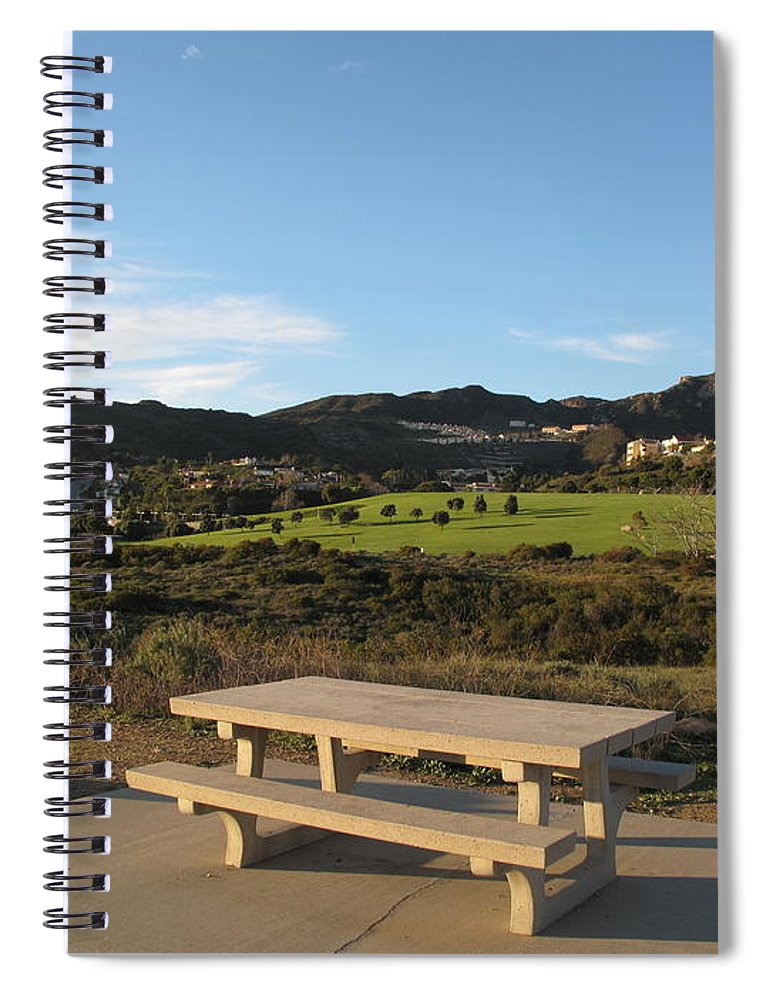 Tranquility Spiral Notebook featuring the photograph Park Bench In Malibu by Marianna Sulic