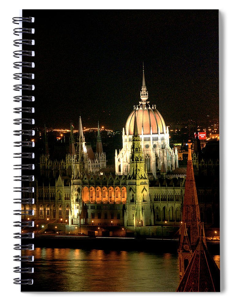 Hungarian Parliament Building Spiral Notebook featuring the photograph Parliament Building Lit Up At Night by Roberto Herrero Garcia