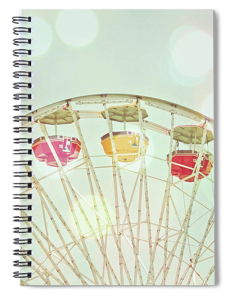 Hanging Spiral Notebook featuring the photograph Pastel Ferris Wheel by Joyhey