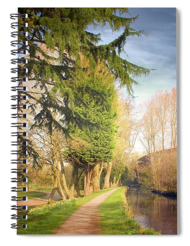 Tranquility Spiral Notebook featuring the photograph Path Besides Canal In Bute Park by Christiana Stawski