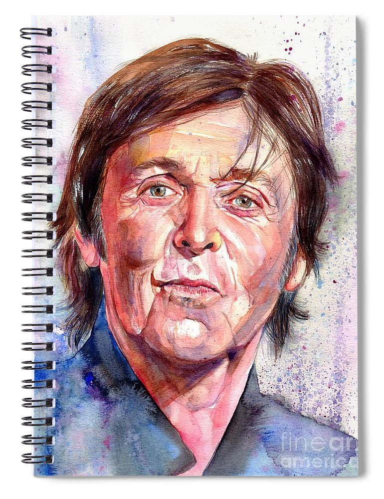 Paul Spiral Notebook featuring the painting Paul McCartney Watercolor by Suzann Sines
