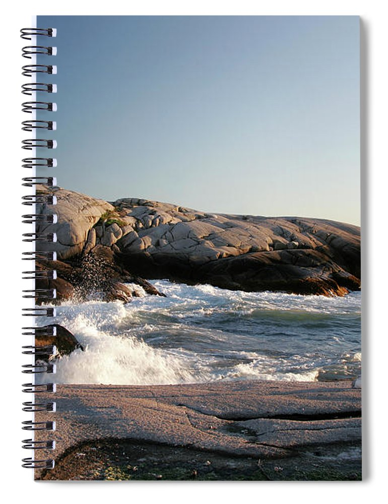 Water's Edge Spiral Notebook featuring the photograph Peggys Cove Lighthouse & Waves by Cworthy