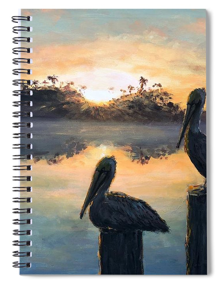 Pelican Spiral Notebook featuring the painting Pelican Sunrise by Paul Emig