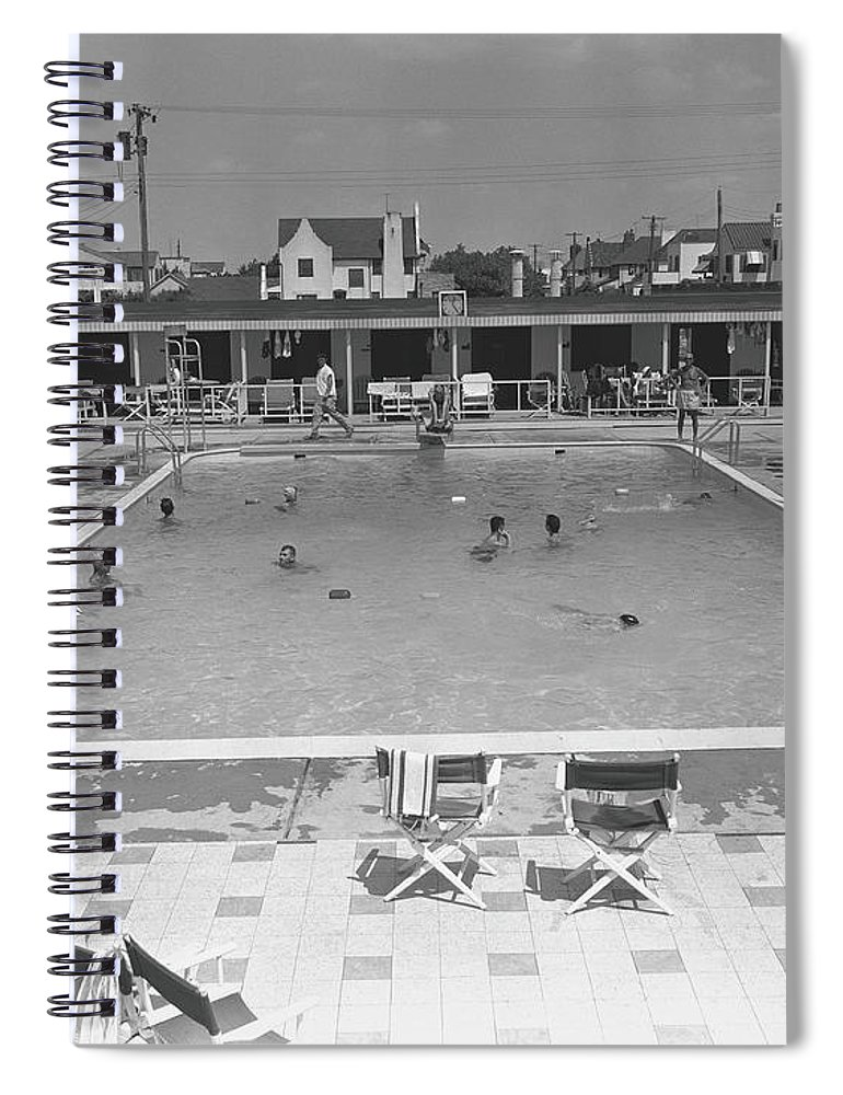 Rectangle Spiral Notebook featuring the photograph People Swimming In Pool, B&w, Elevated by George Marks