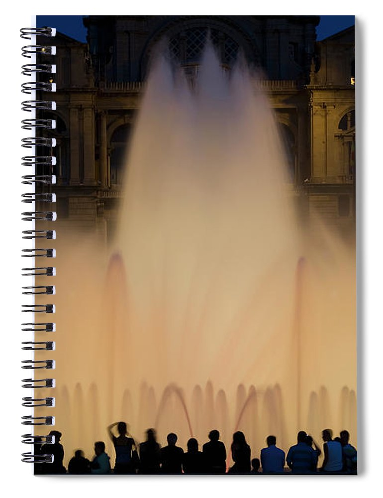 Palace Of Montjuic Spiral Notebook featuring the photograph People Watching Fountain, Palace Of by Peter Adams