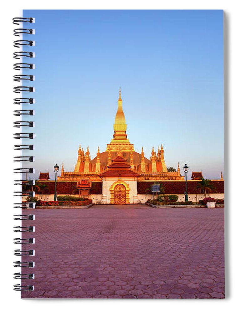 Monument Spiral Notebook featuring the photograph Pha That Luang Stupa At Sunset by Fototrav