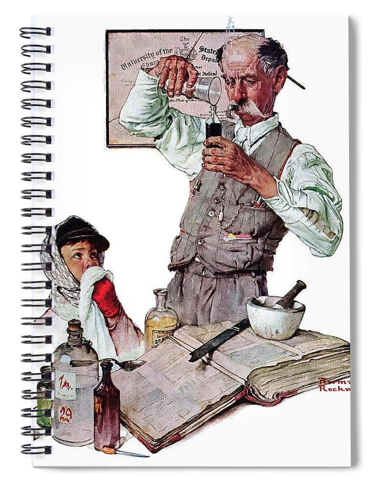 Boy Spiral Notebook featuring the drawing Pharmacist by Norman Rockwell