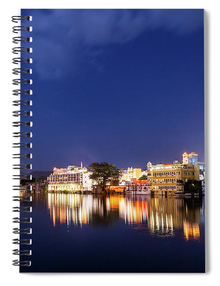 Tranquility Spiral Notebook featuring the photograph Pichola Lake Night View by Greenlin