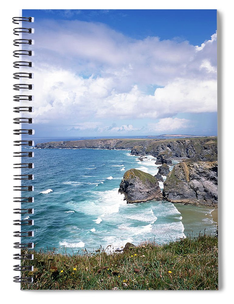 Water's Edge Spiral Notebook featuring the photograph Picturesque Cornwall - Bedruthan by Chrisat