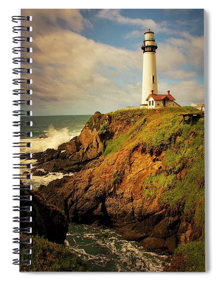 Pigeon Point Light House Spiral Notebook featuring the photograph Pigeon Point Light Station, California by Zayne Diamond Photographic