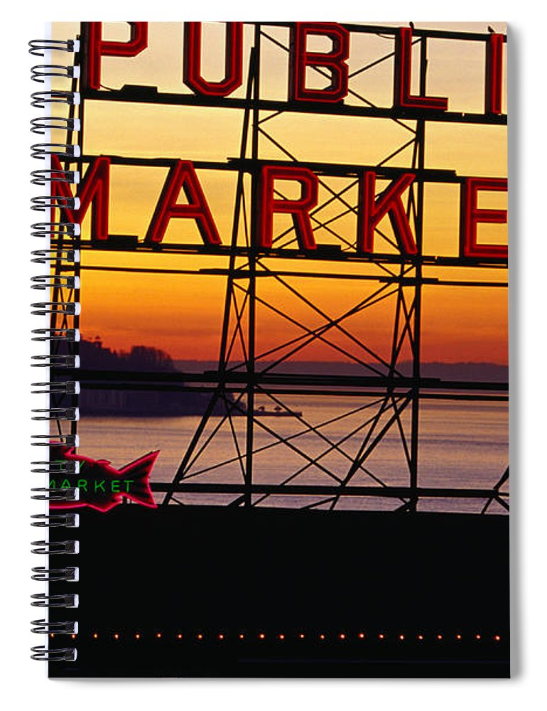 Ferry Spiral Notebook featuring the photograph Pike Place Market Sign, Seattle by Lonely Planet