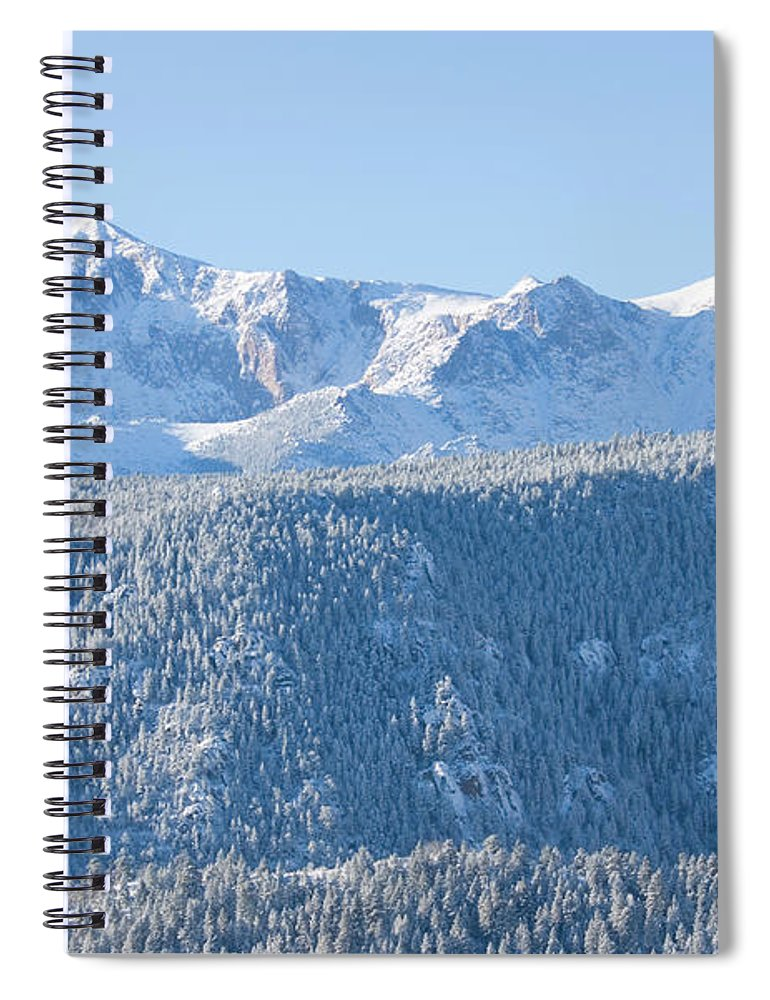 Extreme Terrain Spiral Notebook featuring the photograph Pikes Peak In Fresh Snow by Swkrullimaging
