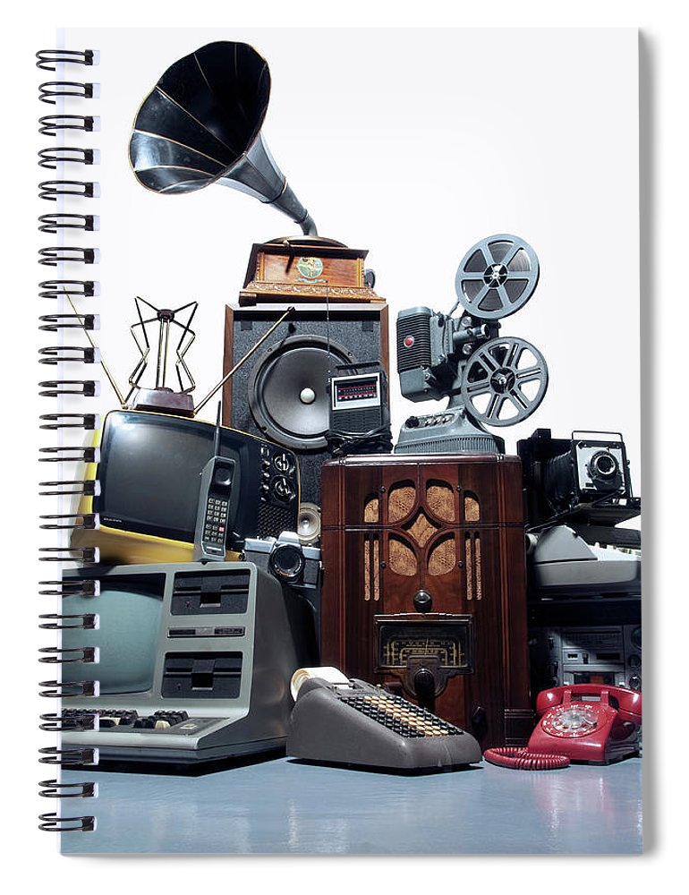 White Background Spiral Notebook featuring the photograph Pile Of Old Technology by Pm Images