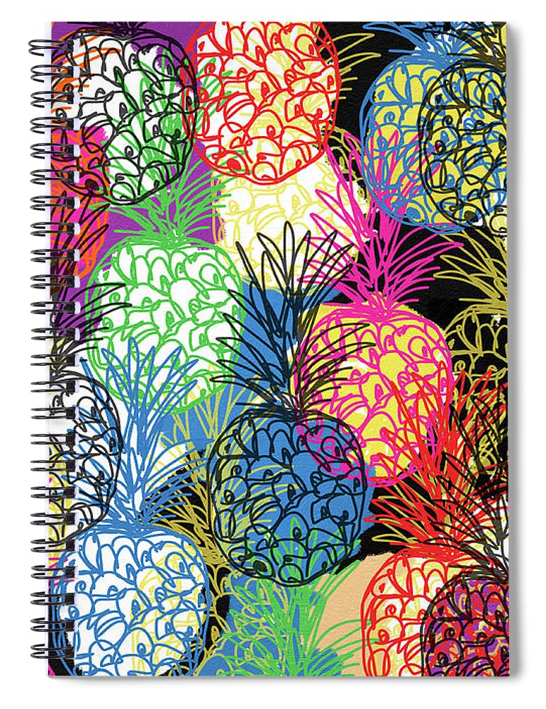 Pineapple Spiral Notebook featuring the mixed media Pineapple Party- Art by Linda Woods by Linda Woods