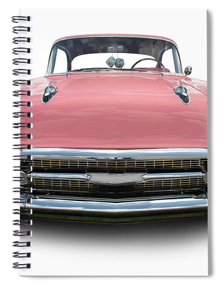 1957 Spiral Notebook featuring the photograph Pink Chevrolet Bel Air 1957 by Schlol