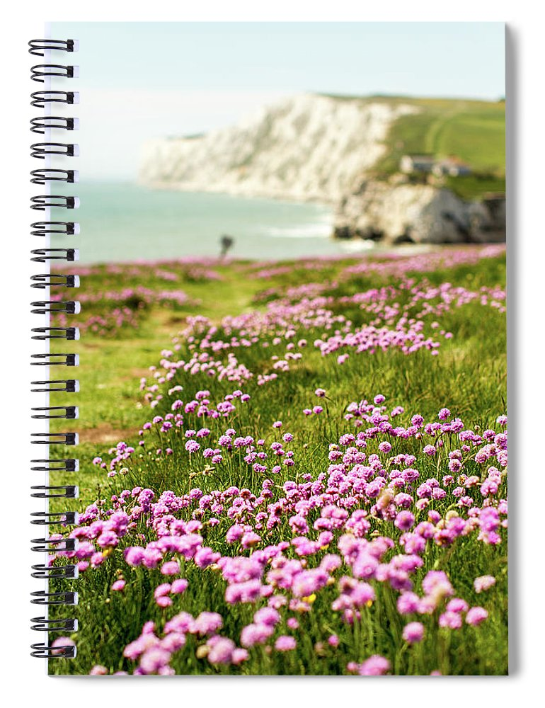 Scenics Spiral Notebook featuring the photograph Pink Coastal Path by S0ulsurfing - Jason Swain