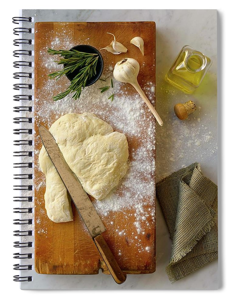 Cutting Board Spiral Notebook featuring the photograph Pizza Dough And Ingredients On Cutting by Brian Macdonald