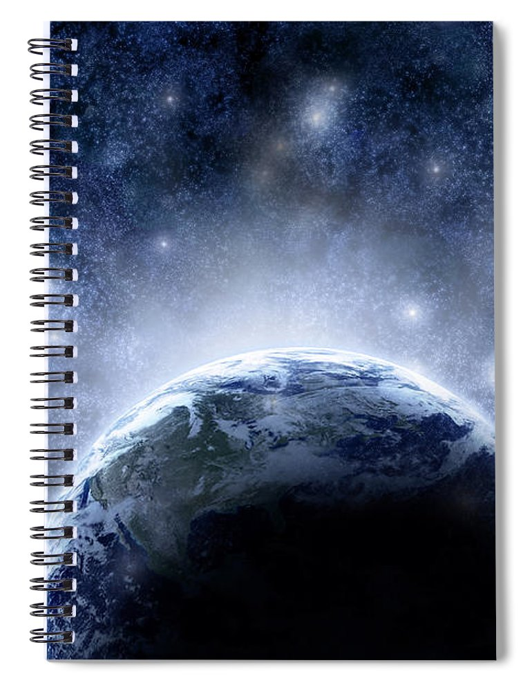 Outdoors Spiral Notebook featuring the digital art Planet Earth And Stars by Nicholas Monu