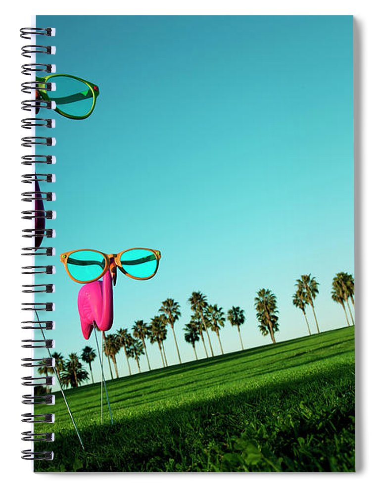 Artificial Spiral Notebook featuring the photograph Plastic Pink Flamingos On A Green Lawn by Skodonnell