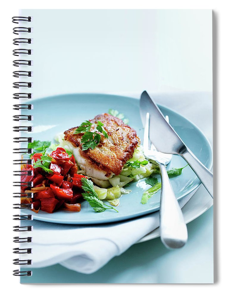 White Background Spiral Notebook featuring the photograph Plate Of Fried Fish And Salad by Line Klein
