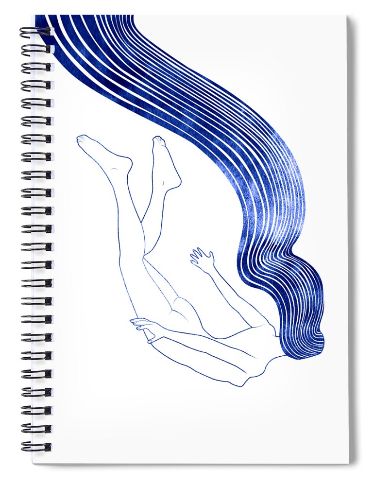 Aqua Spiral Notebook featuring the mixed media Ploto by Stevyn Llewellyn