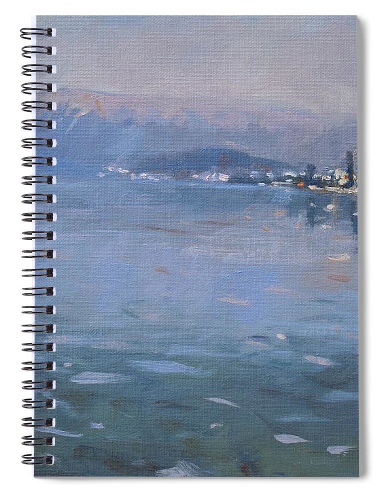 Pogradeci Spiral Notebook featuring the painting Pogradeci Albania by Ylli Haruni