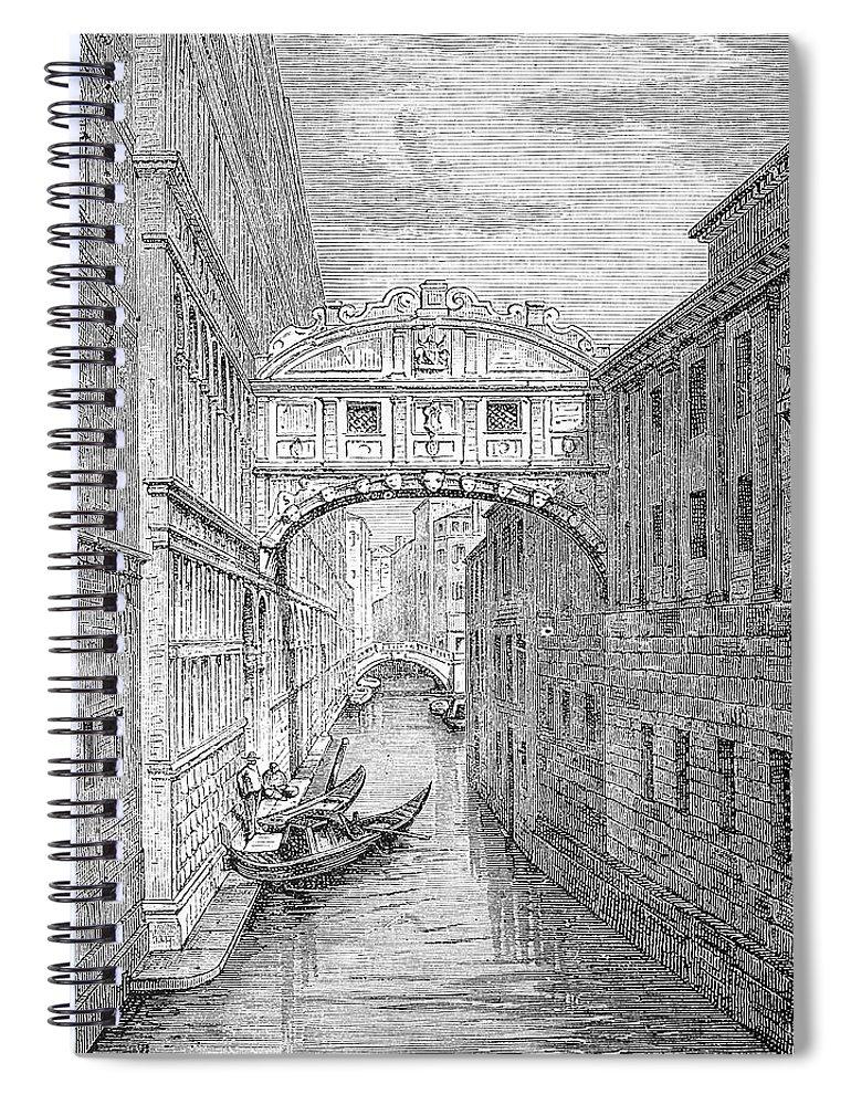 Scenics Spiral Notebook featuring the digital art Ponte Dei Sospiri Bridge Of Sighs by Ilbusca
