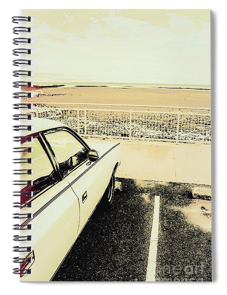 Car Spiral Notebook featuring the photograph Pop Art Beach Carpark by Jorgo Photography - Wall Art Gallery