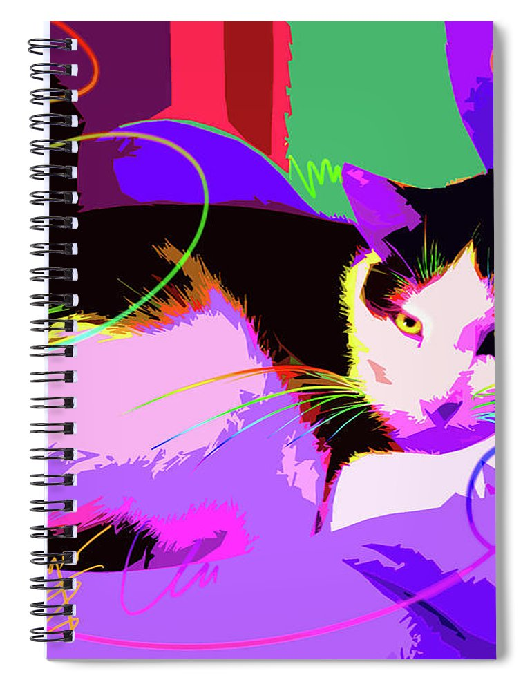 Stitch Spiral Notebook featuring the painting Pop Cat Stitch by DC Langer