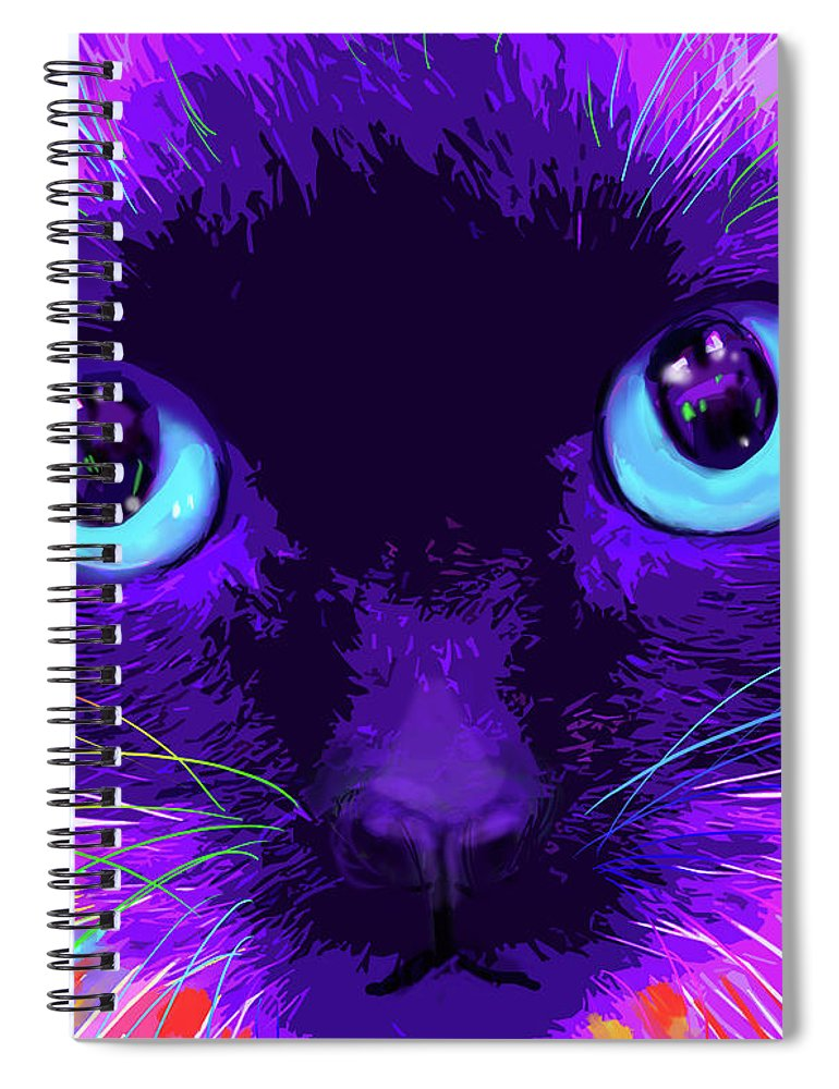 Bubble Spiral Notebook featuring the painting pOpCat Bubble by DC Langer