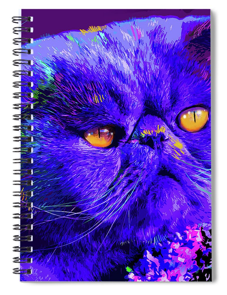 Captain Blue Chip Spiral Notebook featuring the painting pOpCat Captain Blue Chip by DC Langer