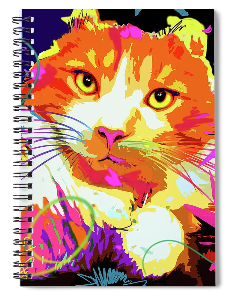 Dizzycats Spiral Notebook featuring the painting pOpCat Freeway, rescued from the freeway by DC Langer