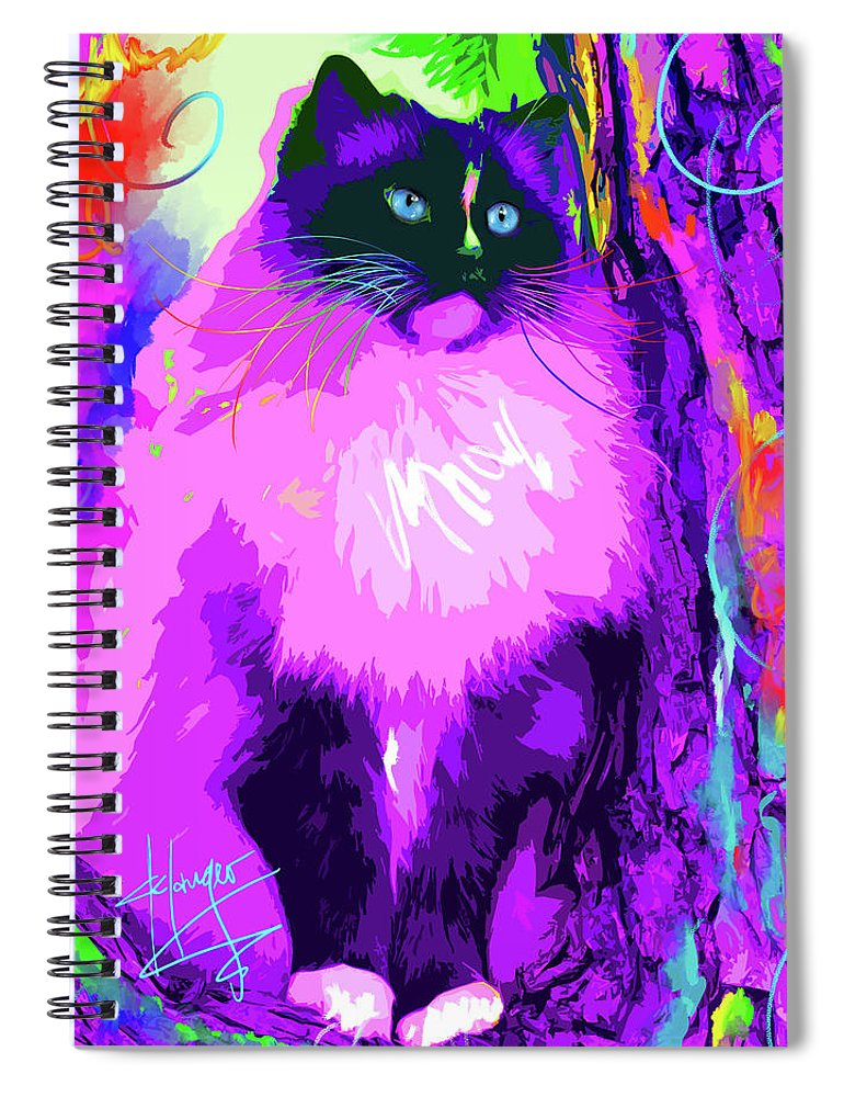 Dizzycats Spiral Notebook featuring the painting pOpCat Master Charles by DC Langer