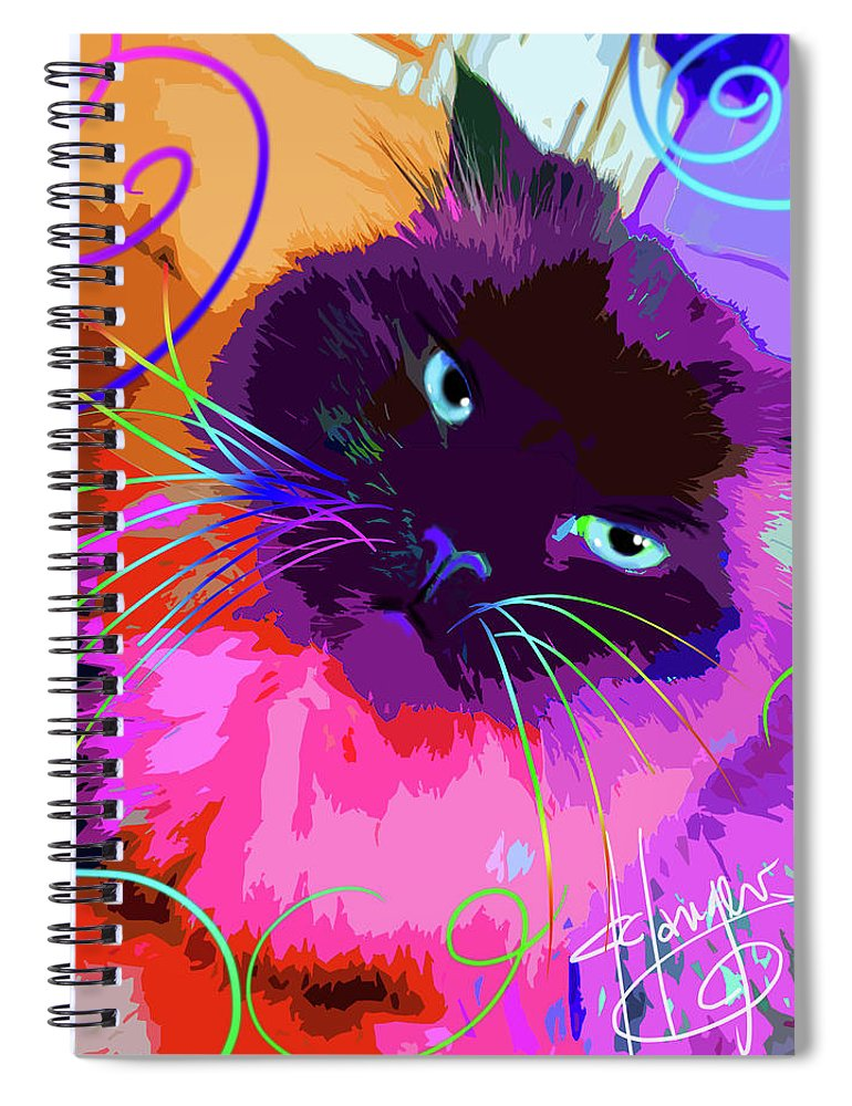 Dizzycats Spiral Notebook featuring the painting pOpCat Misha by DC Langer