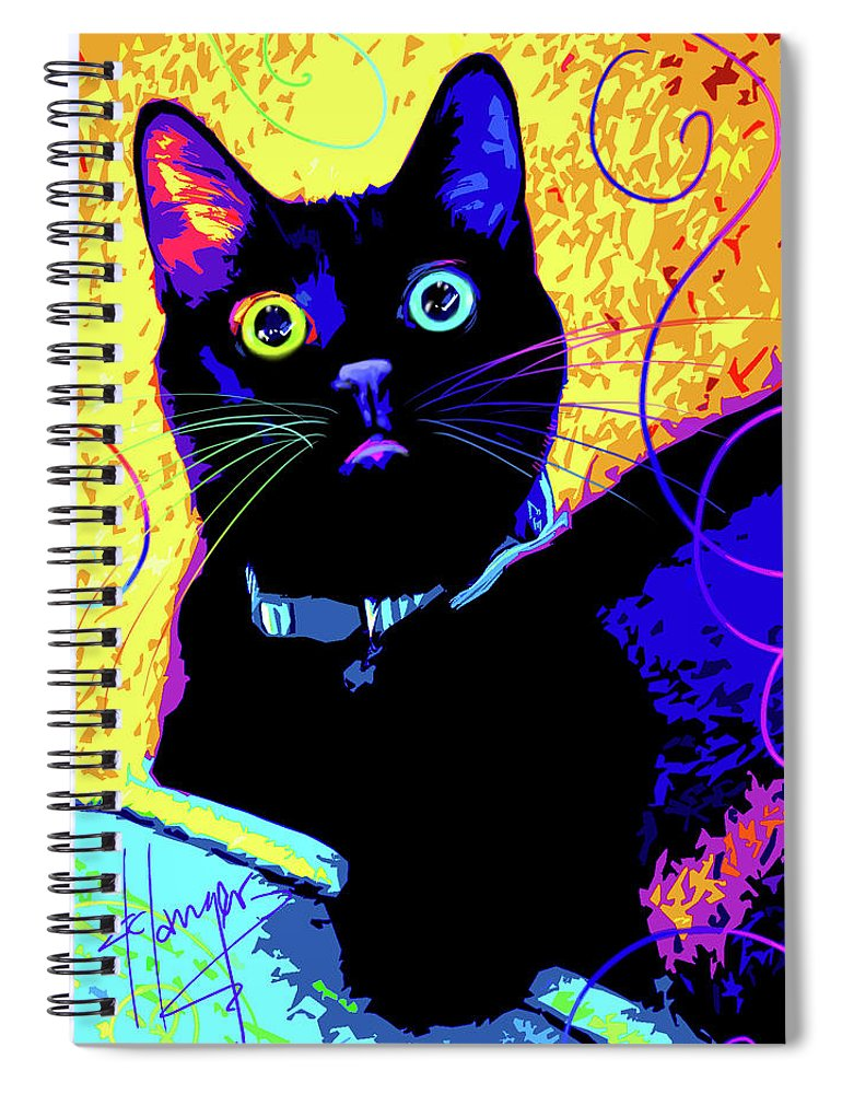 Olive Spiral Notebook featuring the painting pOpCat Olive by DC Langer