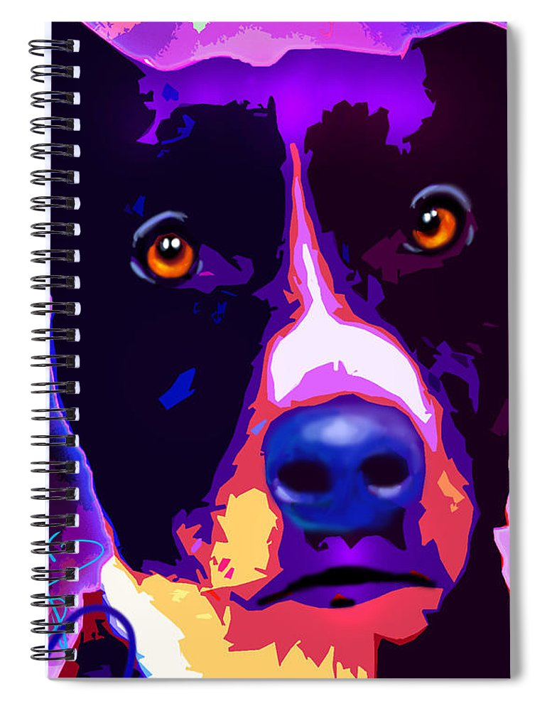 Dog Spiral Notebook featuring the painting pOpDog Louie by DC Langer