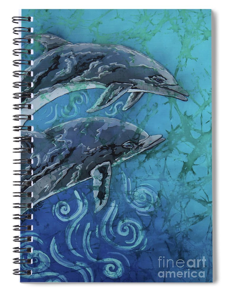 Porpoise Spiral Notebook featuring the painting Porpoise Pair - Close Up by Sue Duda