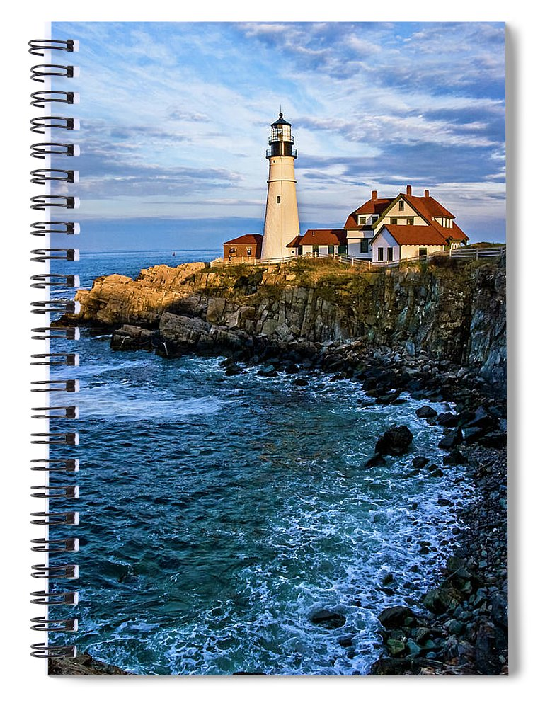 Built Structure Spiral Notebook featuring the photograph Portland Head Light by C. Fredrickson Photography