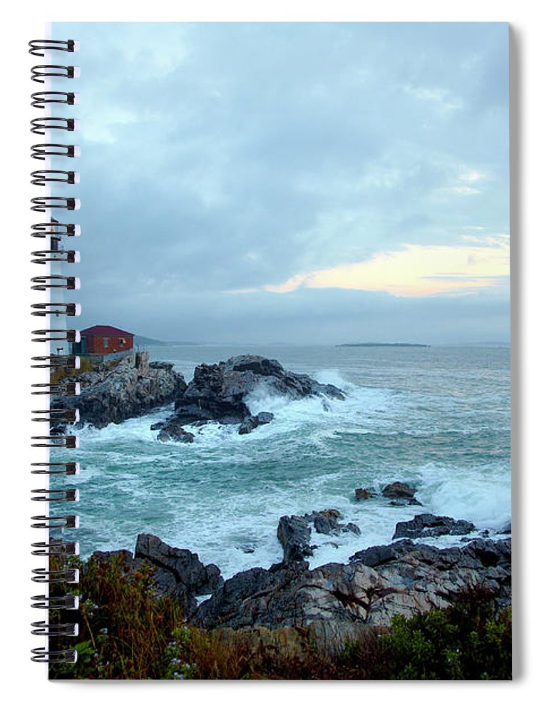 Dawn Spiral Notebook featuring the photograph Portland Head Lighthouse At Sunrise by Thomas Northcut