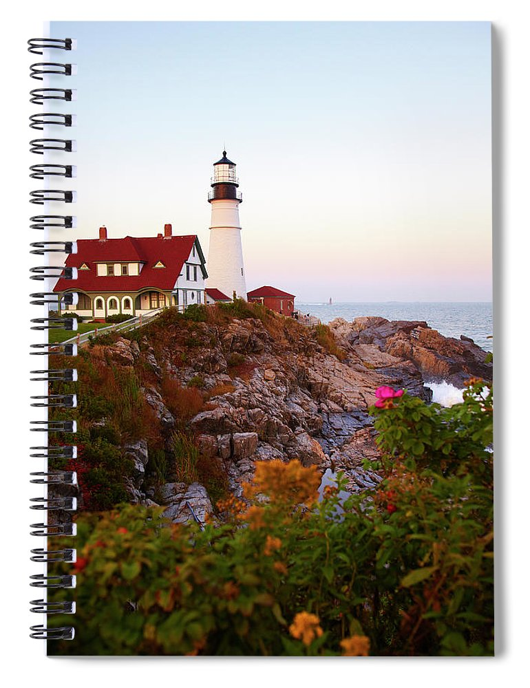 Clear Sky Spiral Notebook featuring the photograph Portland Head Lighthouse At Susnet by Thomas Northcut