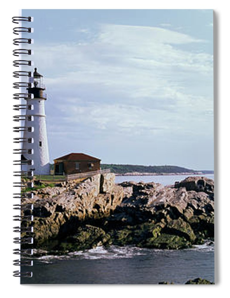 Extreme Terrain Spiral Notebook featuring the photograph Portland Head Lighthouse, Cape by Tony Sweet