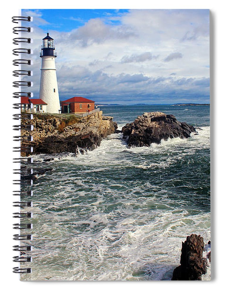 Tranquility Spiral Notebook featuring the photograph Portland Head Lighthouse by Jeremy D'entremont, Www.lighthouse.cc