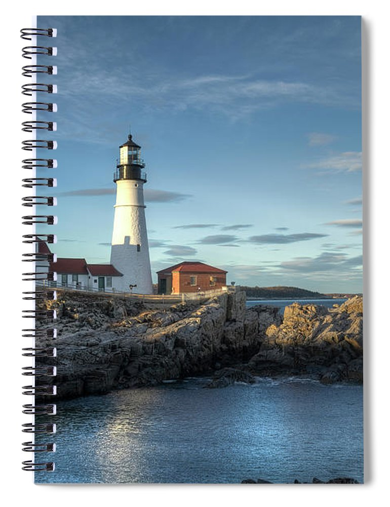 Outdoors Spiral Notebook featuring the photograph Portland Head Lighthouse by Kenneth C. Zirkel