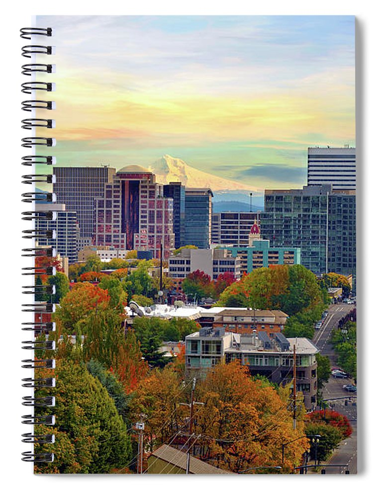 Viewpoint Spiral Notebook featuring the photograph Portland Oregon Downtown Cityscape In by David Gn Photography