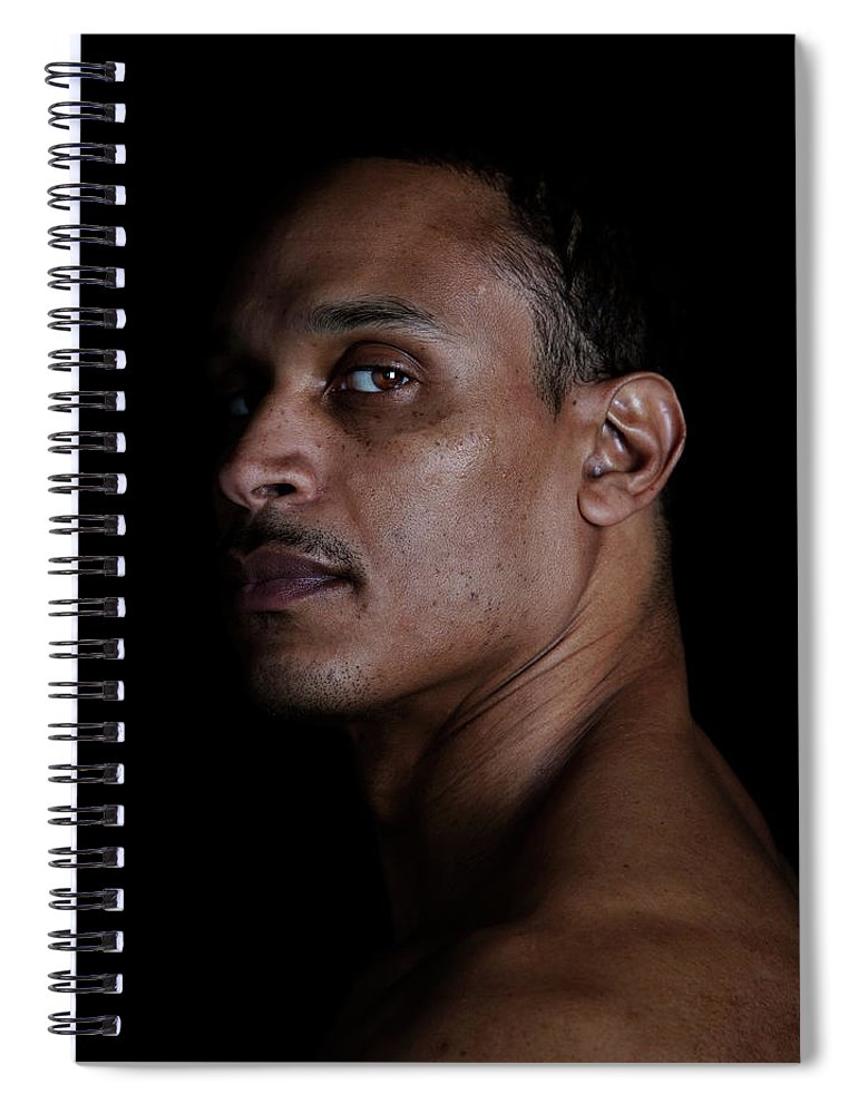 People Spiral Notebook featuring the photograph Portrait Of A Man On A Black Background by Michael Duva