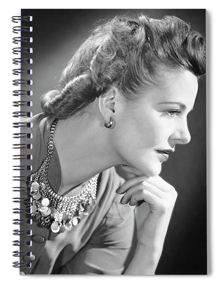 People Spiral Notebook featuring the photograph Portrait Of A Thinking Woman by George Marks