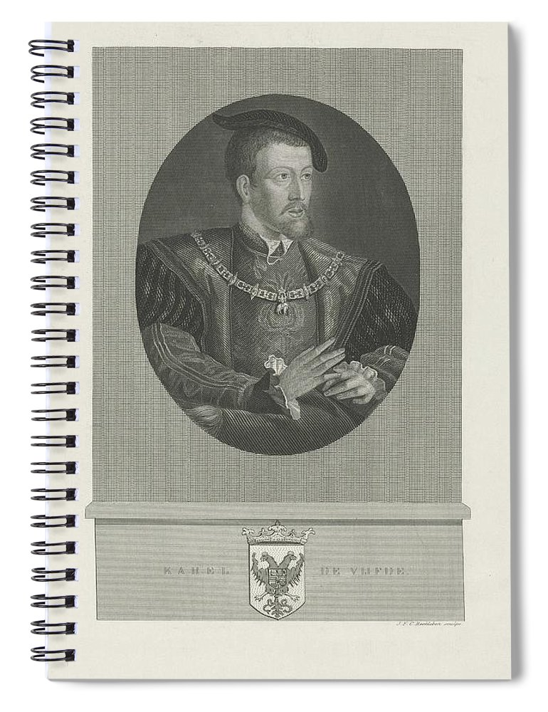 Emperor Spiral Notebook featuring the painting Portrait Of Charles V, Jan Frederik Christiaan Reckleben, 1847 - 1849 by Jan Frederik Christiaan Reckleben