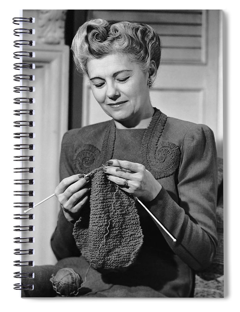 Mature Adult Spiral Notebook featuring the photograph Portrait Of Mature Woman Crocheting by George Marks