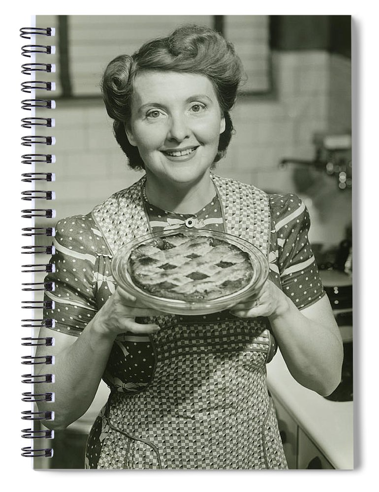 Mature Adult Spiral Notebook featuring the photograph Portrait Of Mature Woman Holding Pie by George Marks